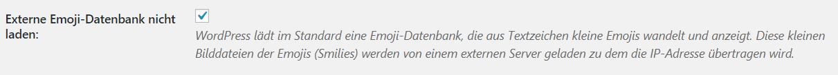 Emoji Datenbank WordPress Deaktivieren